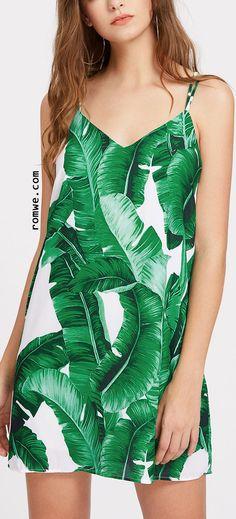 Palm Leaf Print Strappy Back Slip Dress