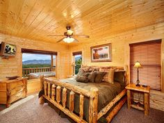 Comfortable, plush beds in a luxury Smoky Mountains vacation cabin Mountain Vacations, Family Vacations, Vacation Places, Vacation Ideas, Smoky Mountain Cabin Rentals, Luxury Suites, Gatlinburg Cabin Rentals, Big Bedrooms, Cabin Ideas