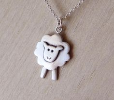 Sheep necklace pendant in sterling silver -Easter gift