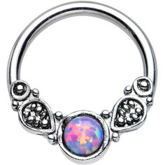 "14 Gauge 1/2"" Synthetic Light Purple Opal Tribal Fantasy Captive Ring 