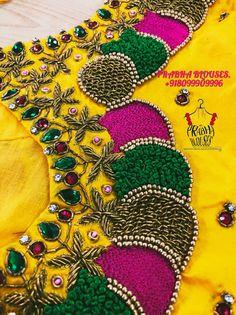 Wedding Saree Blouse Designs, Pattu Saree Blouse Designs, Fancy Blouse Designs, Simple Embroidery, Hand Embroidery, Maggam Work Designs, Hand Work Blouse, Maggam Works, Machine Quilting Designs