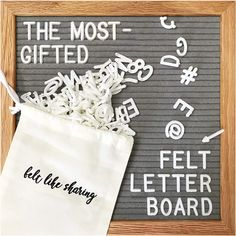 Gray Felt Letter Board and Changeable Letter Boards Include 300 White Plastic Letters & Oak Frame. Letter Bag, Felt Letter Board, Felt Letters, Framed Wooden Letters, White Letters, Cursive Words, Letter Organizer, Cool Gifts For Teens, Plastic Letters