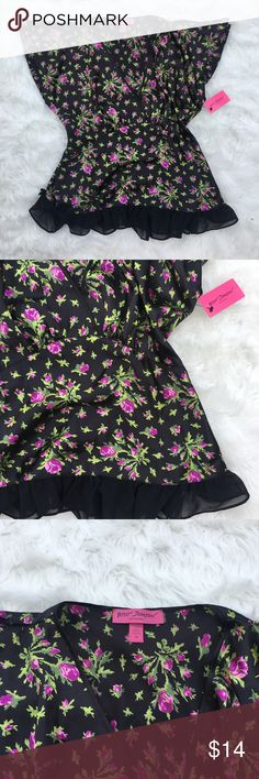 """Betsey Johnson Intimates Floral Wrap Top This Blouse is brand new with original tags. It is a size medium and measures 25"""" long and 20"""" from armpit to armpit when it is laid flat. It is 100% Polyester. If you need additional measurements please let me know and I will get them to you quickly before purchasing. Betsey Johnson Intimates & Sleepwear Chemises & Slips"""