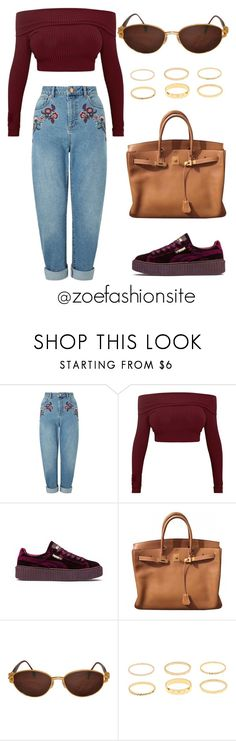 """Untitled #375"" by zoefashionsite on Polyvore featuring Miss Selfridge, Puma, Hermès and Kieselstein-Cord"