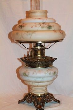 VERY RARE 1800's Bradley Hubbard Gone with the Wind Banquet Oil Lamp ~Masterpiece Breathtaking HAND PAINTED Flowers ~ Unusual Cone Shade ~Outstanding Fancy Ornate Font Spill Ring ~ Still Oil ~ Heirloom Treasure ~ Collector Piece