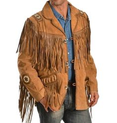 Mens Scully Leather Western wear Brown Suede Leather Jacket Fringe Bead & Bones #Handmade #Western