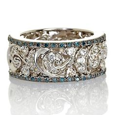 Victoria Wieck Blue Diamond and White Zircon Sterling Silver Eternity Band Ring at HSN.com.