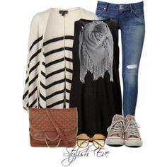 Striped &Converse Outfit!