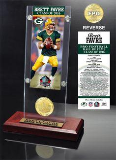 Brett Favre 2016 Pro Football HOF Induction Ticket & Bronze Coin Acrylic Desk Top