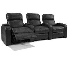 Octane Seating XL800 Edge Theater Seating with Manual Recline and Black Bonded Leather