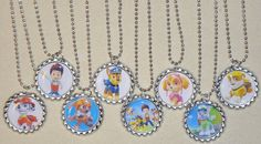 Set of 8 PAW PATROL Flat Bottlecap Necklaces! Fast Shipping!!