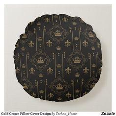 Shop Gold Crown Pillow Cover Design created by Techno_Home. Pillow Cover Design, Pillow Covers, Gold Crown, Soft Pillows, Monogram, Accessories, Golden Crown, Pillow Case Dresses, Pillow Shams