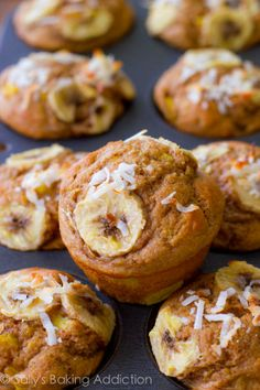 Skinny, Bikini-Friendly Tropical Muffins. Made with bananas, pineapple, orange zest, yogurt, whole wheat flour, and coconut. Easy, moist, low-fat, healthy muffins!   sallysbakingaddiction.com