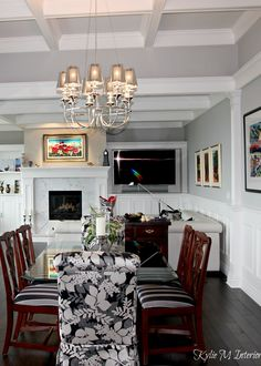 Traditional modern style open layout living room and dining room, coffered ceilings, Benjamin Moore Stonington Gray