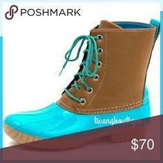 Here!! << Teal Turquoise Duck Boots >> These duck boots are a super trendy spin on the originals with a super cute color combo! Excellent quality!!  Synthetic Rubber boots with faux leather upper, and fully lined.  Fit true to size, if you are a half size, go up to the next whole size!  New in box! See sizes for availability! Boutique  Shoes Winter & Rain Boots
