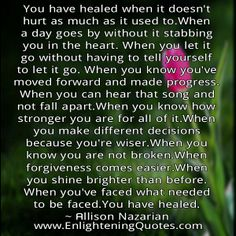 You have healed when...