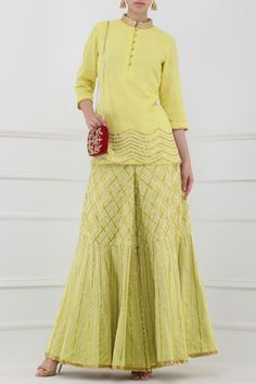 Lime yellow gota patti embroidered tunic with sharara pants available only at Pernia's Pop Up Shop. Indian Wedding Outfits, Indian Outfits, Pakistani Dresses, Indian Dresses, Garara Suit, Gota Patti Suits, Plazzo Suits, Salwar Suits, Salwar Kameez