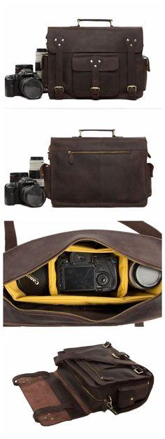 """Genuine Leather DSLR Camera Bag Leather Briefcase Leather Camera Bag For Canon&Nikon 7200 Model Number: 7200 Dimensions: 14.9""""L x 4.9""""W x 11""""H / 38cm(L) x 12.5cm(W) x 28cm(H) Weight: 3.7lb / 1.7kg Har"""