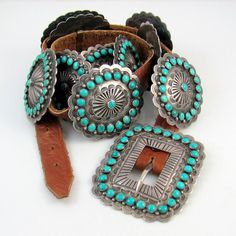 Navajo Hand Made Turquoise Suede Belt Silver Buckle Made in the USA 1 Inch Wide