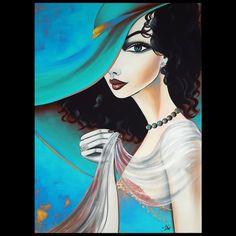 Acrylverf schilderij Portret van vrouw met hoed Kunst