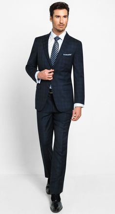 2 Button Notch Modern Genoa Plaid-Navy Men's Suit $498.00