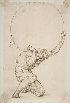Crouching Figure of Atlas, Baldassare Tommaso Peruzzi, Pen and brown ink, over leadpoint or black chalk