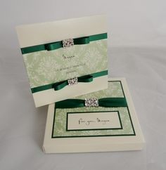 Boxed wedding card in ivory and green