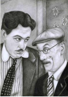 I miei disegni / My drawings: Eduardo e Luca De Filippo - Natale in casa Cupiell...