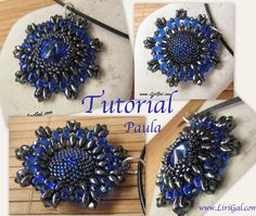 Paula Rivoli-SuperDuo Beadwork Pendant PDF Tutorial by Lirigal