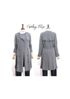Handmade knitted trench coat Lambs wool knit coat by KnittingbyDB