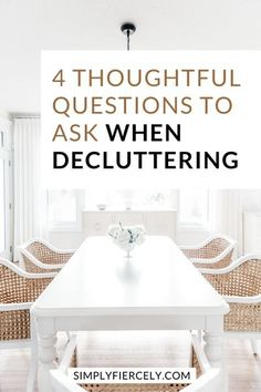 Are you looking for helpful questions to ask when decluttering? This list helped me view my clutter with new eyes, so I could finally learn to let go. Minimalist Closet, Minimalist Living, Questions To Ask, This Or That Questions, Clutter Solutions, Declutter Your Life, Learning To Let Go, Organizing Your Home, Kid Spaces