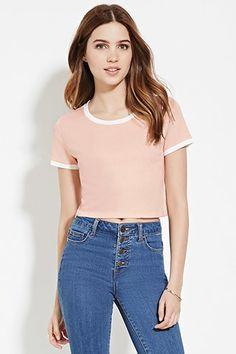 Buy it now. FOREVER21 Women's Light Pink & Cream Boxy Ringer Tee. ringer tee,cropped , topcorto, croptops, croptops, croptop, topcrop, topscrops, cropped, bailarina, topbailarina, corto, camisolacorta, topcortoestilobandeau, crop, bralet, strappybralet, bandeautop. Hot pink,beige FOREVER21 crop top for woman.
