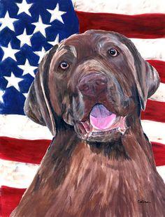 USA American Flag with Labrador Flag Canvas House Size