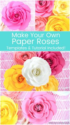 Learn how to make paper roses with these giant paper flower templates and step by step tutorial for wedding backdrops, baby showers parties and more. SVG cut files and printable PDF rose template incl Mexican Paper Flowers, How To Make Paper Flowers, Paper Flowers Wedding, Giant Paper Flowers, Diy Flowers, Flower Diy, Handmade Flowers, Flower Crafts, Flower Making