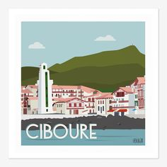 Ciboure   Hekikaii Illustrations Tourism Poster, Biarritz, Basque Country, Vintage Travel Posters, Poster Vintage, Travel Maps, Illustrations, Retro, Surfing