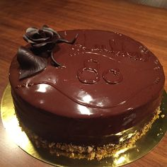 Chocolate Fudge Cake - chocolate ganache and of course caramelised hazelnuts and chocolate rose -