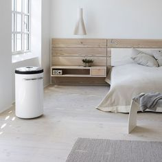 Bedroom Rustic White Bedroom Design Combined With Floating Bedside Table And Wooden Headboard Ideas Monochrome Bedroom Design Inspiration Home Bedroom, Bedroom Furniture, Master Bedroom, Bedrooms, Calm Bedroom, Wooden Bedroom, Clean Bedroom, Bedroom Rustic, Stylish Bedroom