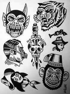 Tattoojoris flash devil monkey tiger dagger