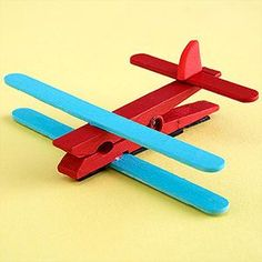 Airplane - Paint one spring-style clothespin, two craft sticks, and one mini craft stick in your child's favorite colors. Once dry, glue a craft stick on top and bottom of the clothespin as wings, and the mini craft stick as the tail. Cut a triangle from crafts foam and glue it upright atop the mini craft stick. Once dry, glue strong magnets on the bottom of the clothespin. Kids made 3/12