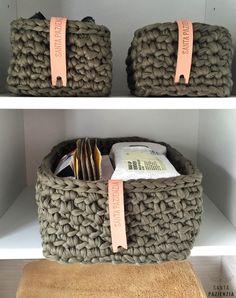 Conjunto de cestas rectangulares de trapillo | Santa Pazienzia