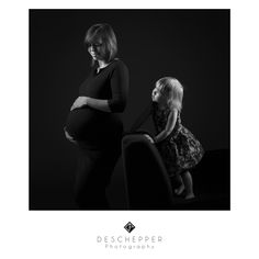 # Portrait # Female # Black&White # Look # Photography # Studio # Deschepper # Photo # Maternity # Pregnancy # Daughter
