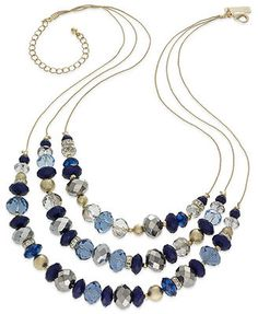 INC International Concepts Necklace, Gold-Tone Beaded Triple-Row Necklace