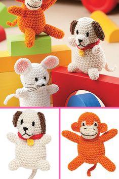 Amigurumi Animal Friends. Everyone will love these easy, take-along, pocket-size animals. #crafts #amigurumi #crochet #ad