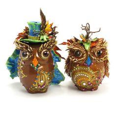 Owl Cake Toppers Autumn Wedding with Maple Leaf Ceramic Wedding Decor Bride and Groom Owl Lover Gift Handmade Home Decor 00003  www.goodiemud.com