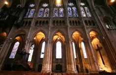 Chartres Cathedral - Chartres, France  South arcade of the spectacular Gothic nave (1194-1220) of Chartres Cathedral.