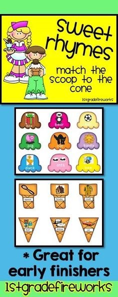 """Sweet Rhymes..Match the scoop to the cone it RHYMES with! Great for centers, intervention, Early finishers, etc. pre K-2nd. ESL, too! 18 different """"cones"""" & """"scoops"""" to match rhyming words & pictures. Grades PreK-2. https://www.teacherspayteachers.com/Product/Sweet-Rhymes-862425"""