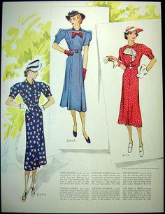 Vintage Fashion illustration Ladies Dresses by MyPaperedPast