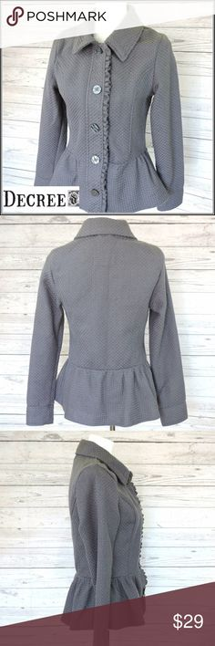 """DECREE Gray Ruffle Hem Blazer Jacket """"When in doubt, wear DECREE.""""  Lightweight blazer jacket with ruffle hem & detailing along button line.  Length: 24"""" Sleeve Length: 18.5"""" Bust width - lying flat: 17"""" Fabric: Basket-weave acrylic Care: Machine wash warm separately. Condition: Great pre-loved. No flaws. decree Jackets & Coats"""