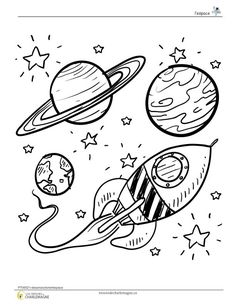 Doodle space planets rocket ship stars explore vector 1112511 - by lhfgraphics o. Doodle space planets rocket ship stars explore vector 1112511 - by lhfgraphics o. Planet Coloring Pages, Space Coloring Pages, Free Coloring Pages, Printable Coloring Pages, Doodle Art, Doodle Drawings, Easy Drawings, Rocket Drawing, Ship Drawing