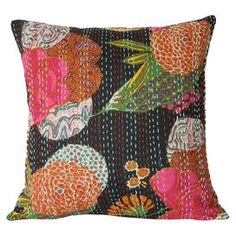 """Bring a touch of exotic style to your sofa or settee with this bold cotton pillow sham, showcasing a kantha cloth-inspired floral motif.    Product: Pillow shamConstruction Material: CottonColor: BlackDimensions: 16"""" x 16""""Note: Insert not included"""
